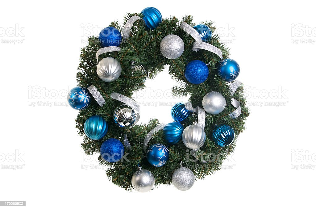 Christmas Wreath  with Blue and Silver Ornaments Isolated stock photo