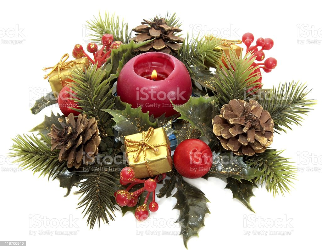 Christmas wreath with burning candle stock photo