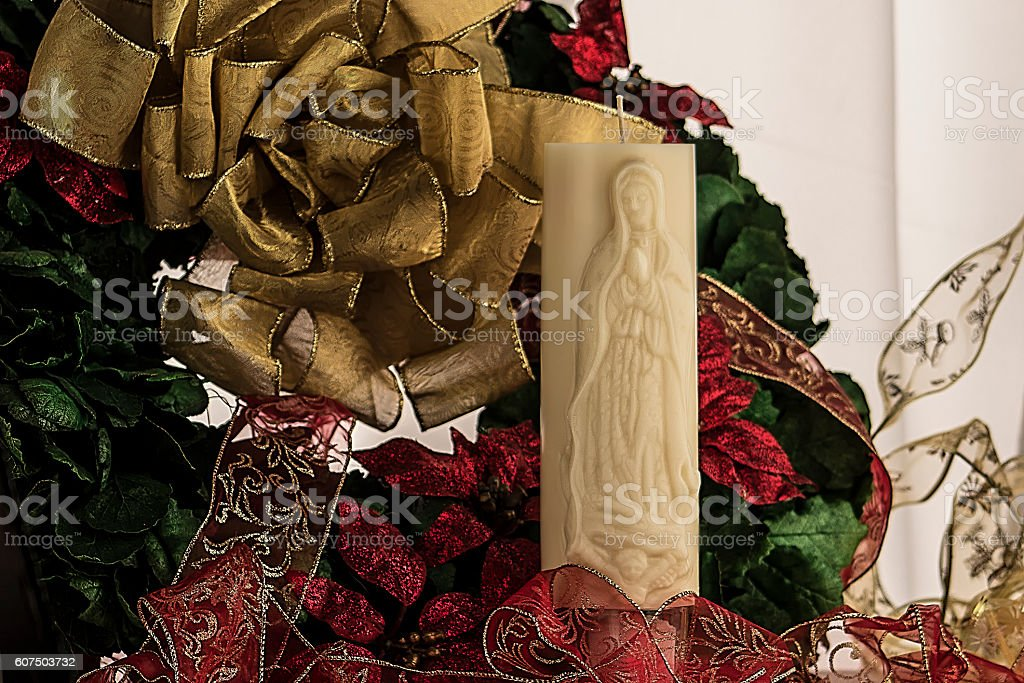 Christmas wreath with candle stock photo
