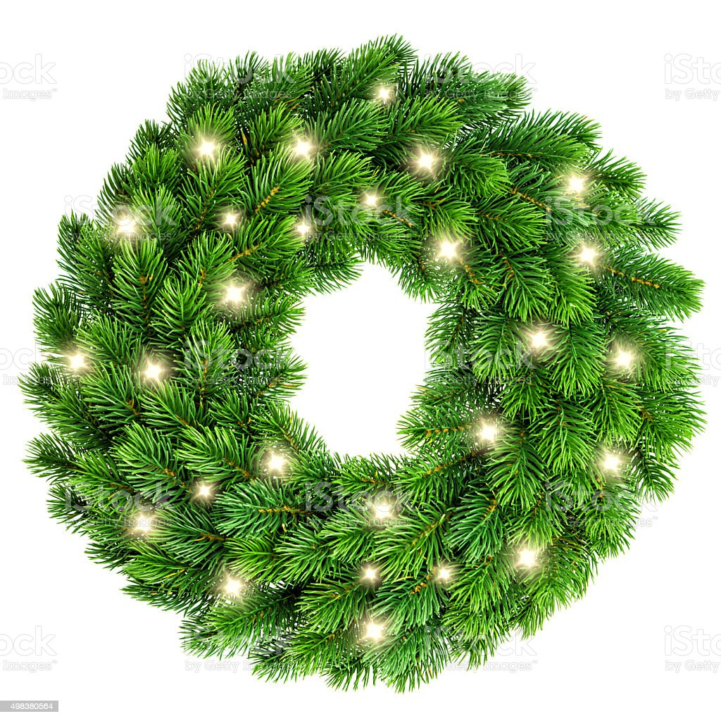 Christmas wreath with golden lights decoration isolated on white stock photo