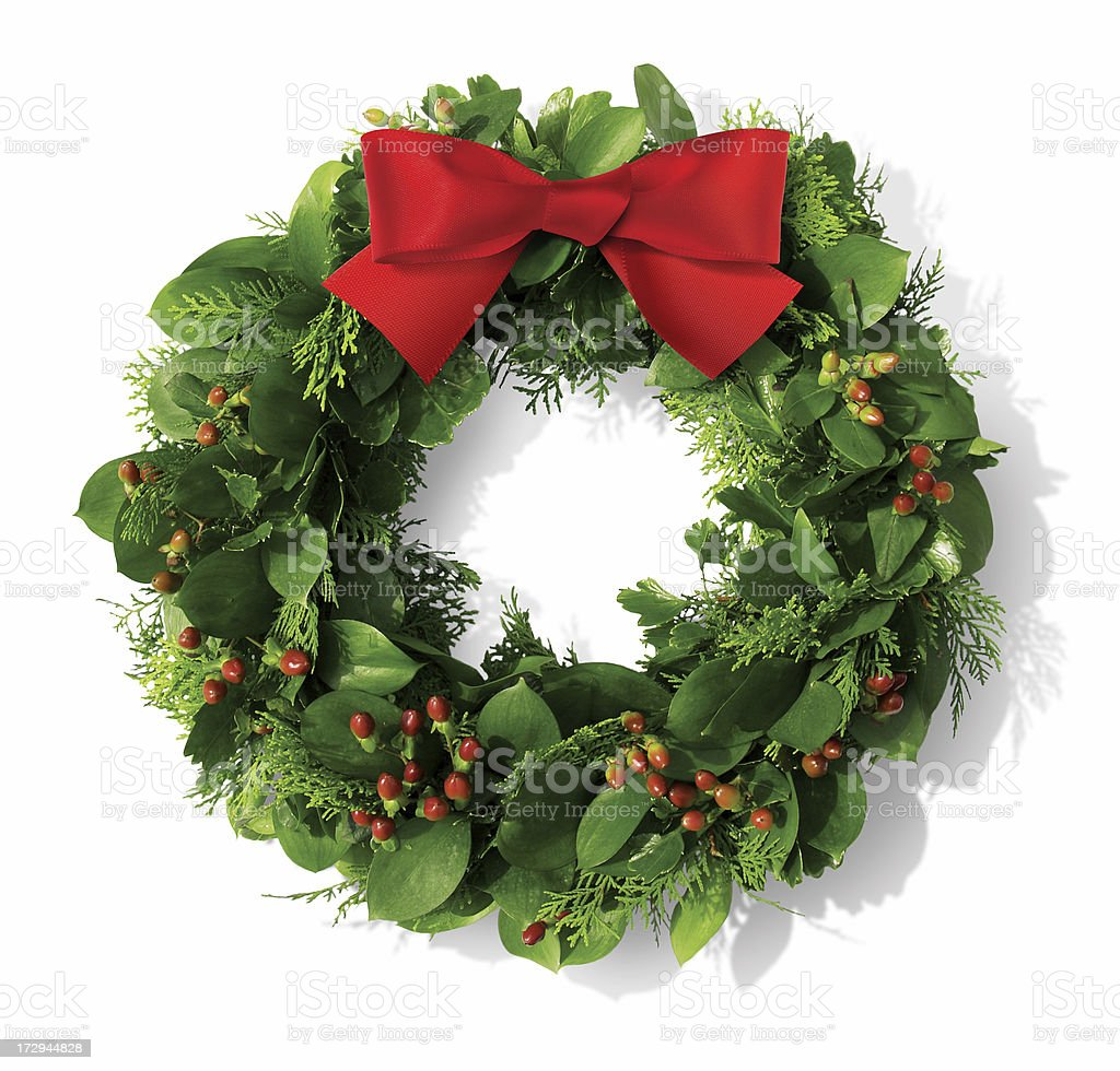 Christmas wreath with red bow royalty-free stock photo