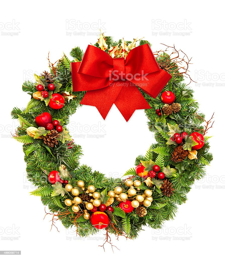 Christmas wreath with red ribbon bow and golden decorations stock photo