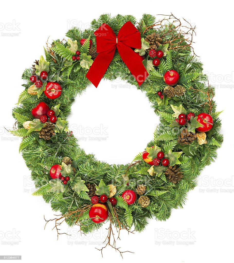 christmas wreath with red ribbon stock photo
