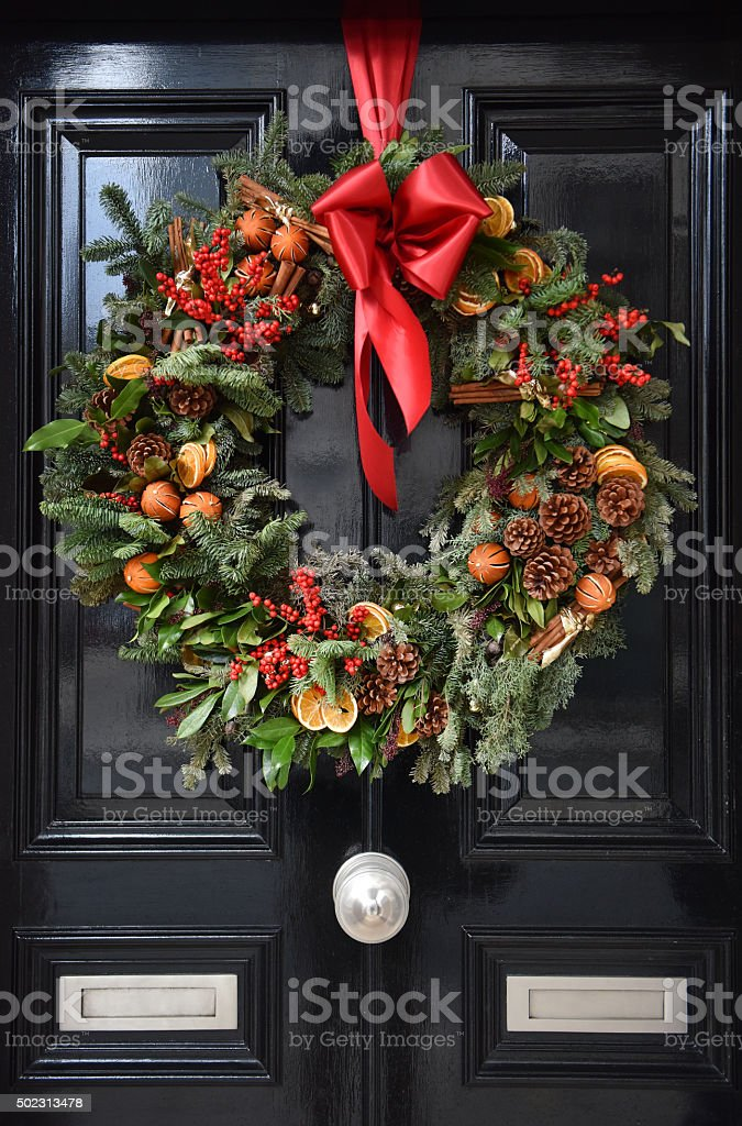 Christmas Yule Wreath stock photo
