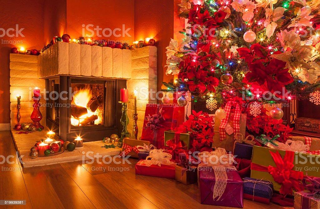 Christmas,Christmas tree,fireplace;holiday;ornaments;stockings stock photo