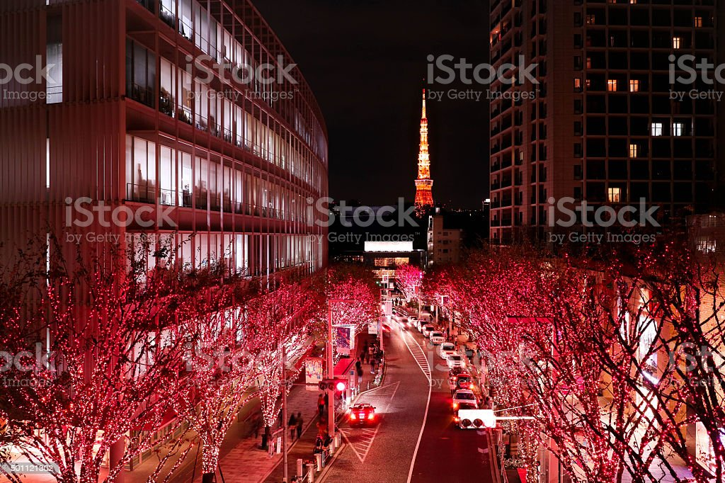 Christmas lighting in Tokyo. And Tokyo tower. stock photo