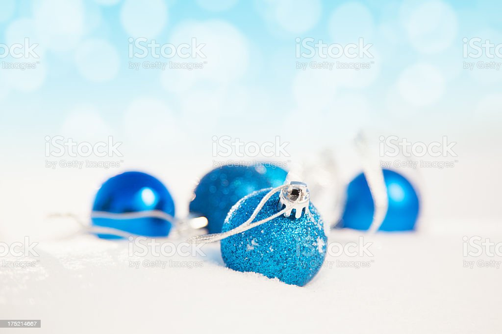 Christmass ornaments on snow royalty-free stock photo