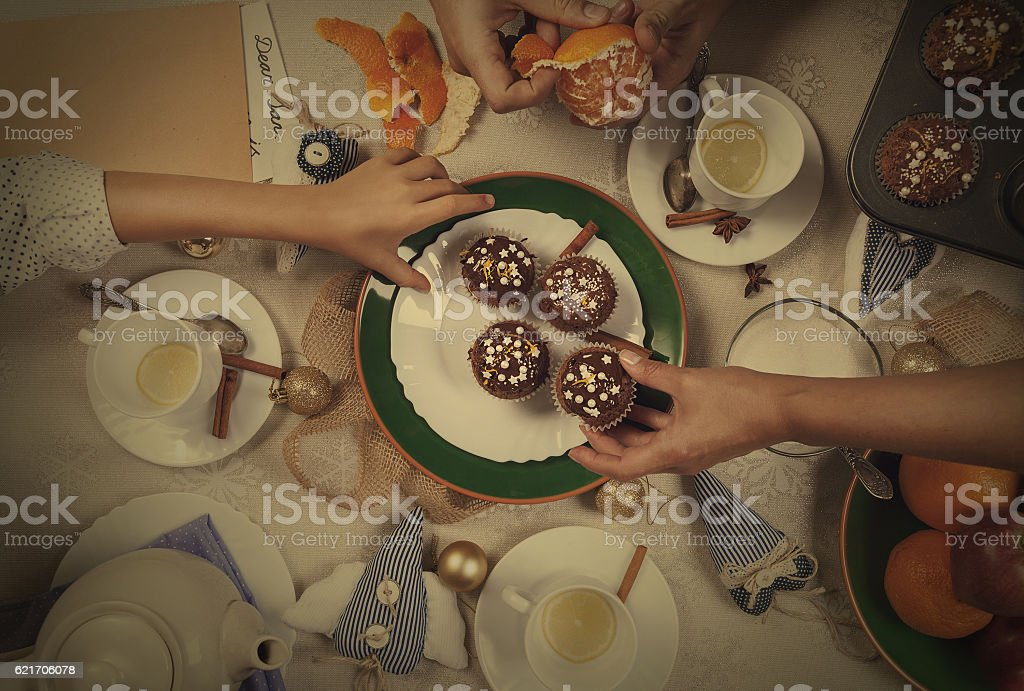 Christmass time tea party with homemade muffins stock photo