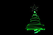 Christmass tree light painting. Abstract of lighting equipment.