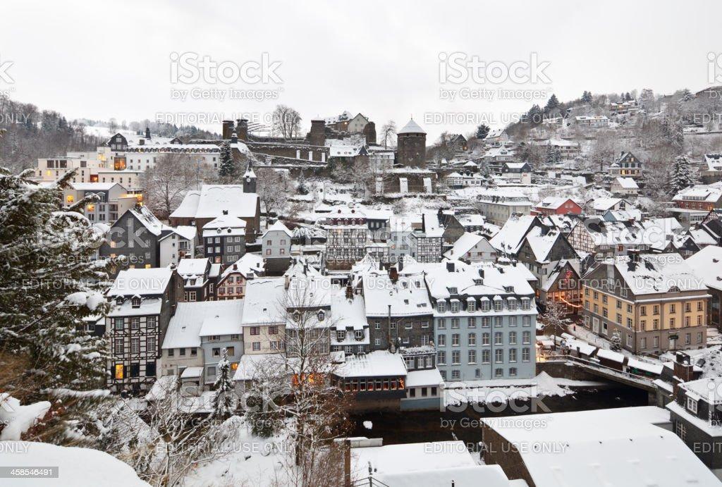 Christmassy Monschau With Snow stock photo