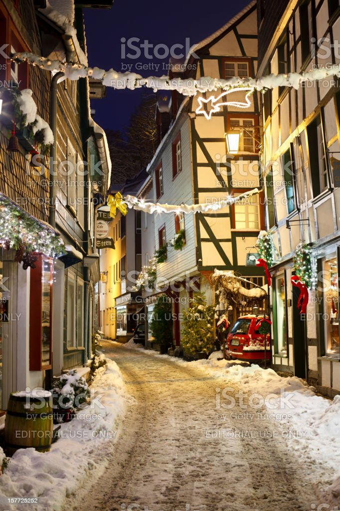 Christmassy Street At Night stock photo