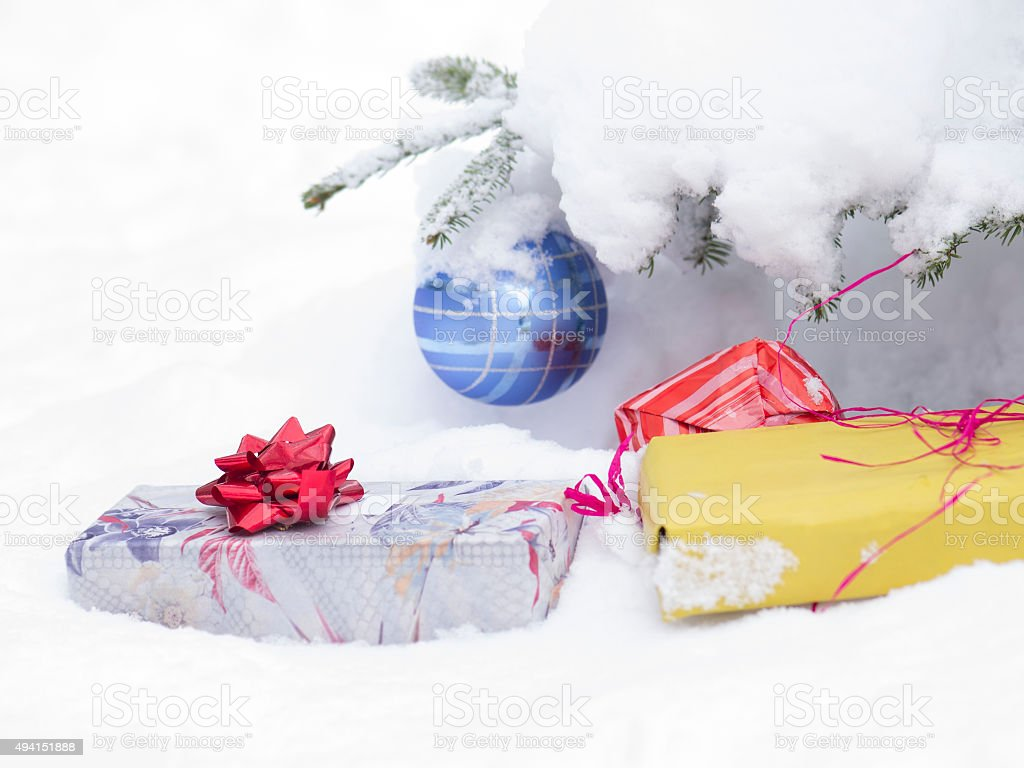 Christmast ball and present for card stock photo