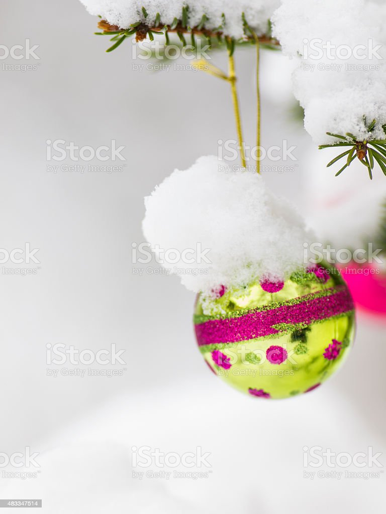 Christmast ball on tree for card stock photo