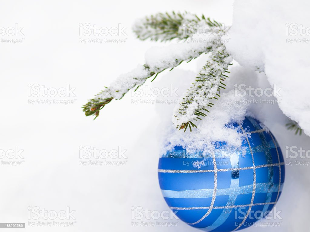 Christmast ball with snow for card stock photo