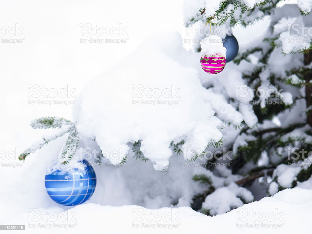 Christmast ball with snow in forest for card stock photo
