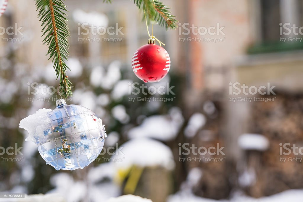 Christmast ball with snow in Urban garden stock photo