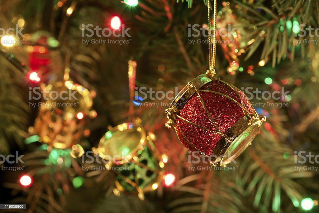 Christmas-tree, garlands and decorations royalty-free stock photo