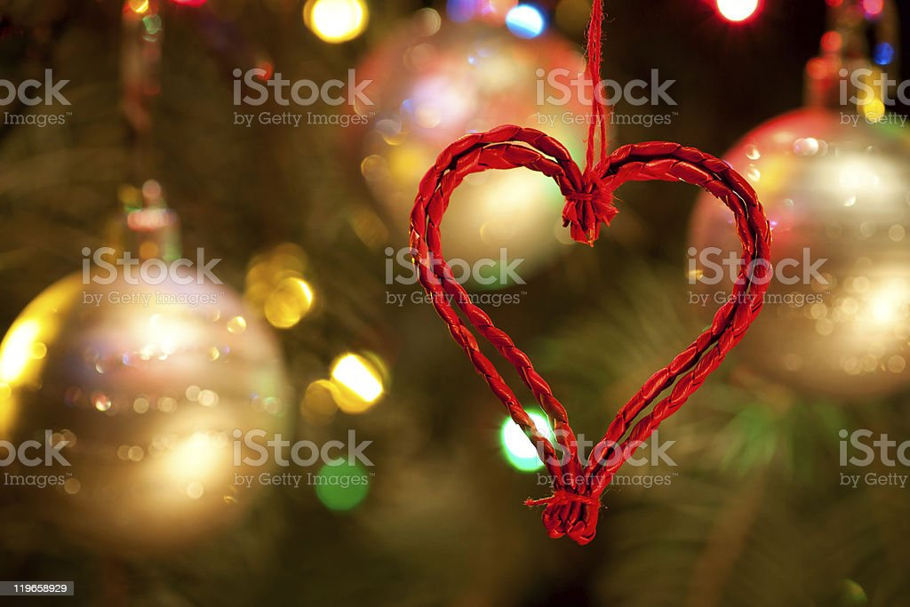 Christmas-tree, garlands, balls and herat decorations royalty-free stock photo