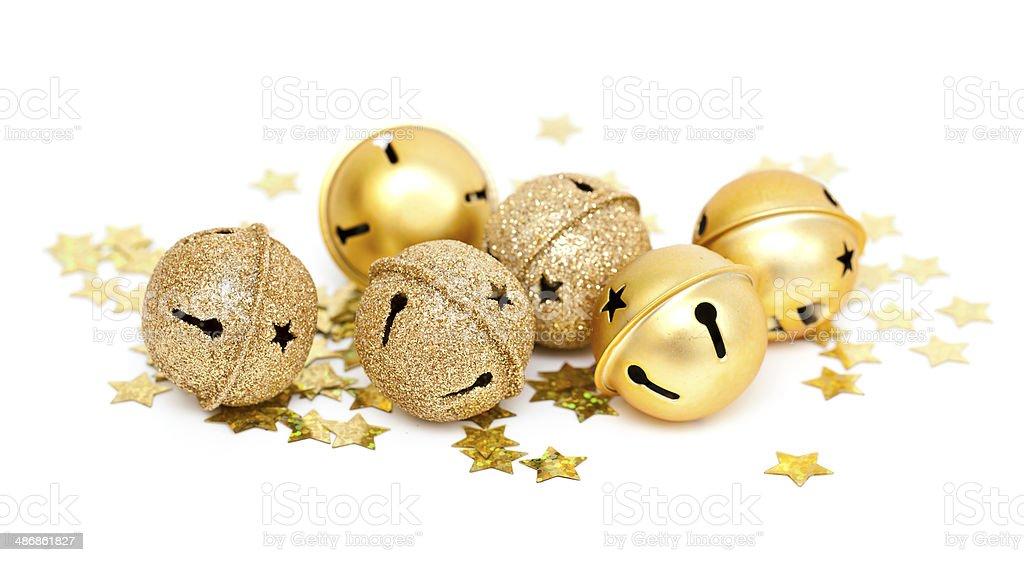 Christms golden bells stock photo