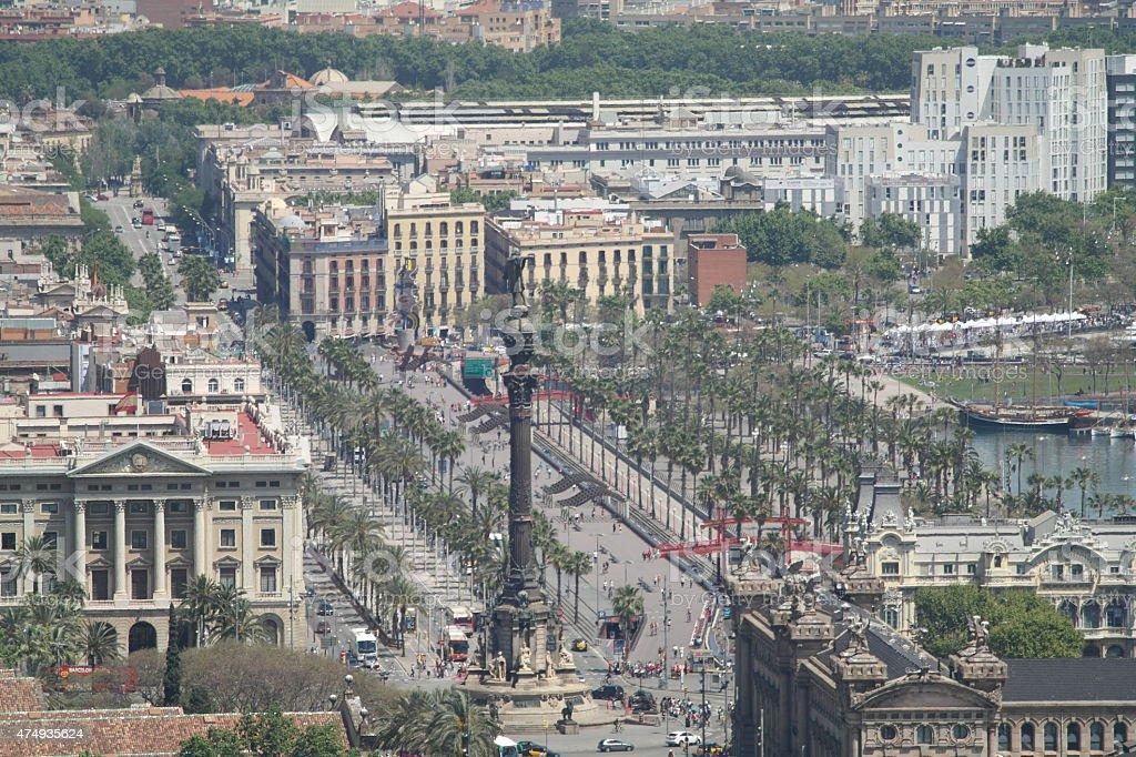Christopher Columbus Monument in Barcelona stock photo