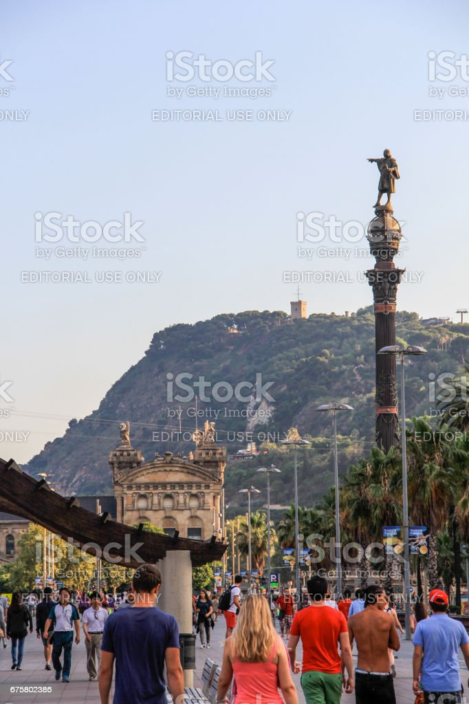 Christopher Columbus monument in the port of Barcelona stock photo