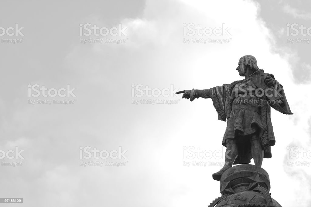 christopher columbus pointing stock photo