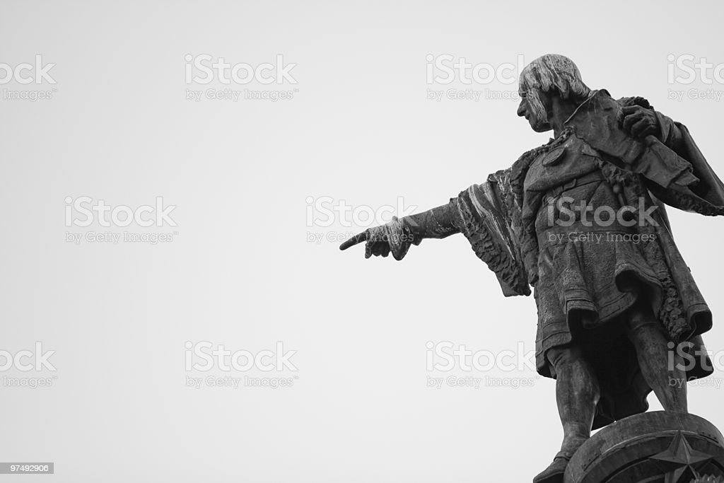 Christopher Columbus Pointing to America stock photo