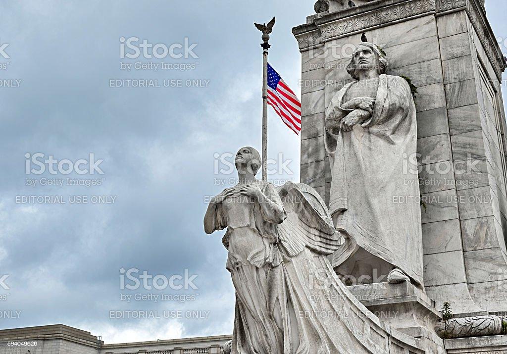 Christopher Columbus Statue at Columbus Circle stock photo