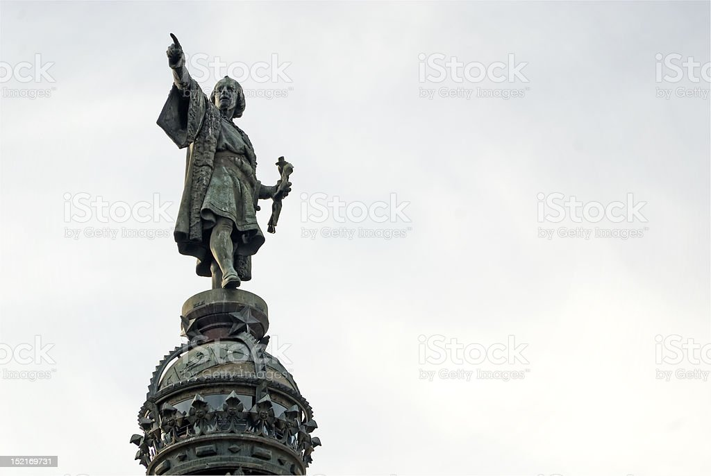 Christopher Columbus statue in Barcelona stock photo
