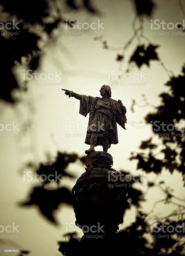 Christopher Columbus statue in barcelona royalty-free stock photo