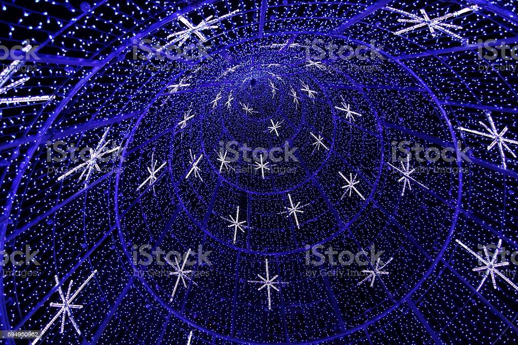 chritsmas blue lights stock photo