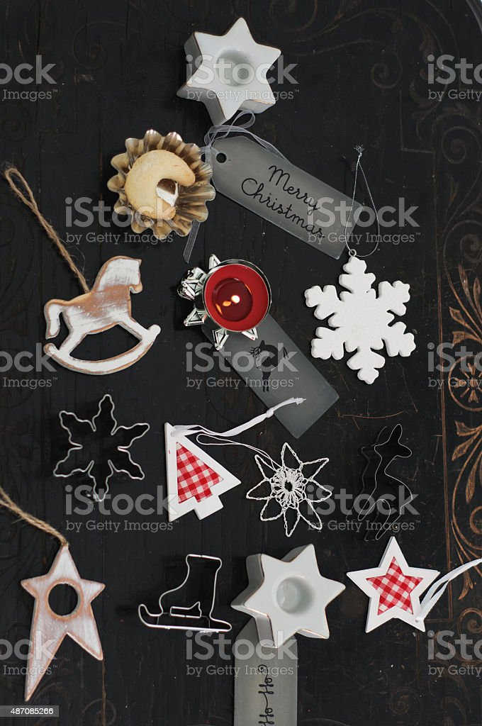 Chritsmas Ornaments in Tree Shape stock photo