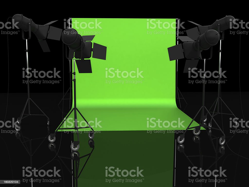 Chroma key studio stock photo