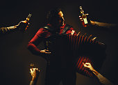 Chromatic Accordion Player And Spirit Drinks