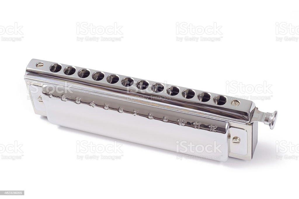 chromatic harmonica isolated on white background stock photo