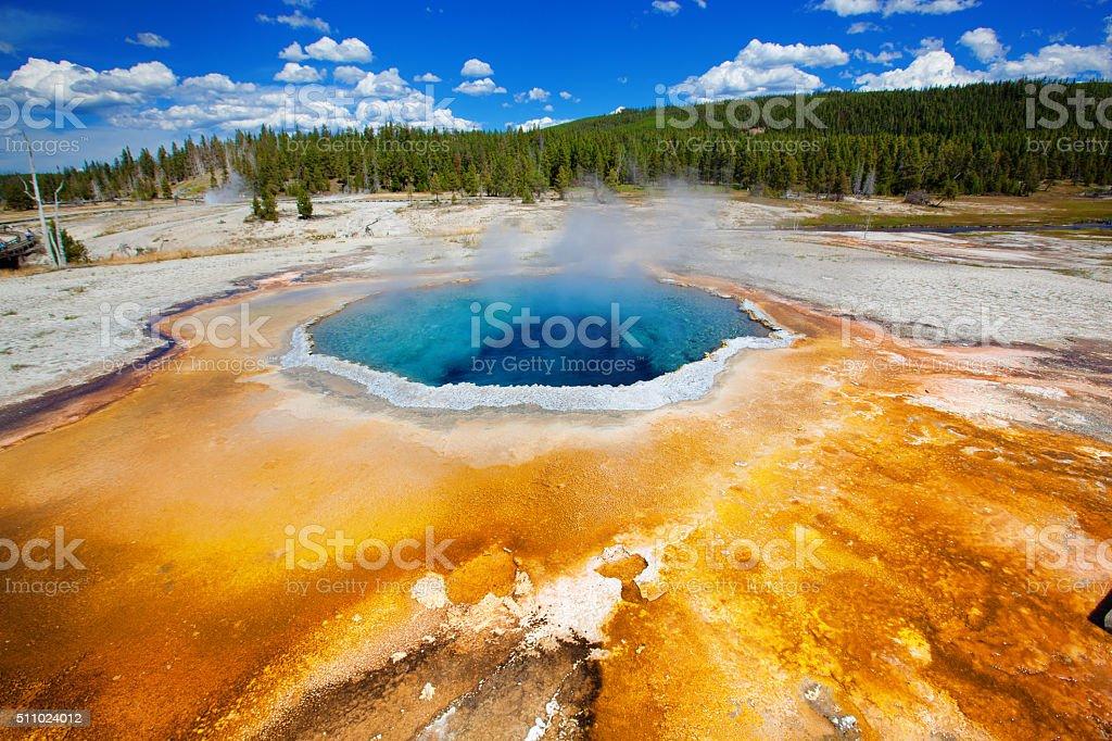 Chromatic Pool at Old Faithful Geyser Basin stock photo
