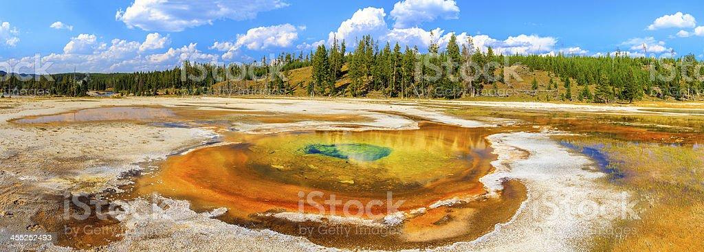 Chromatic Pool Panorama, Yellowstone National Park, Wyoming stock photo