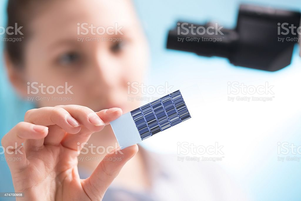 chromatogram sequencing on slide in woman hand stock photo