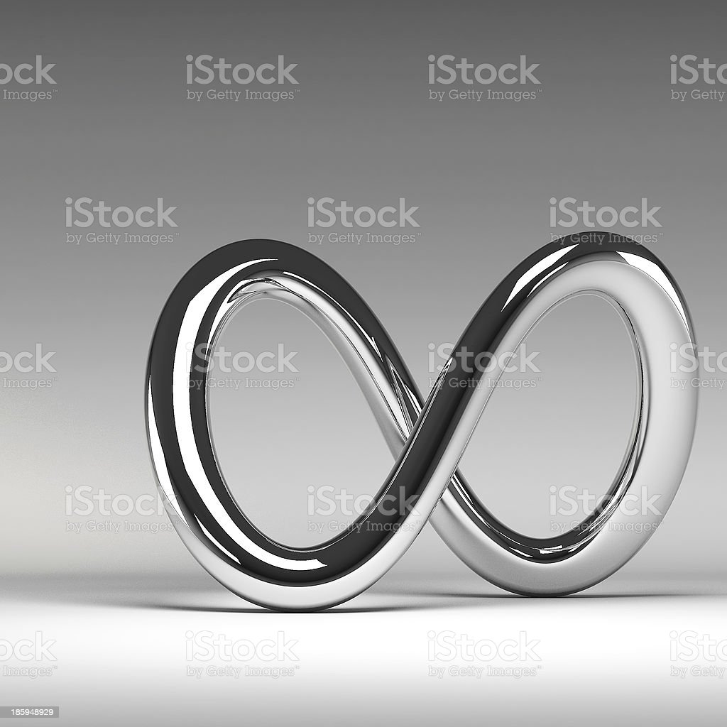 3D chrome abstract infinity sign stock photo