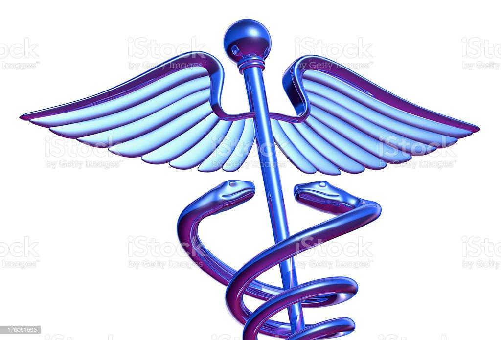 Chrome Caduceus Medical Symbol, Detail stock photo