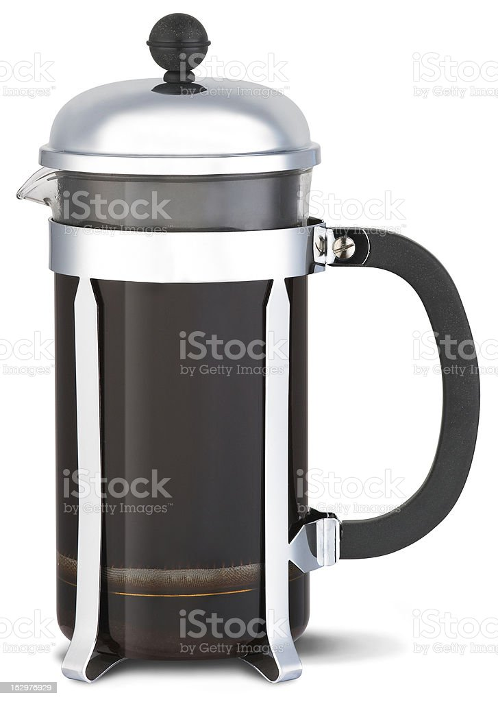 chrome cafetiere with coffee and clipping path stock photo