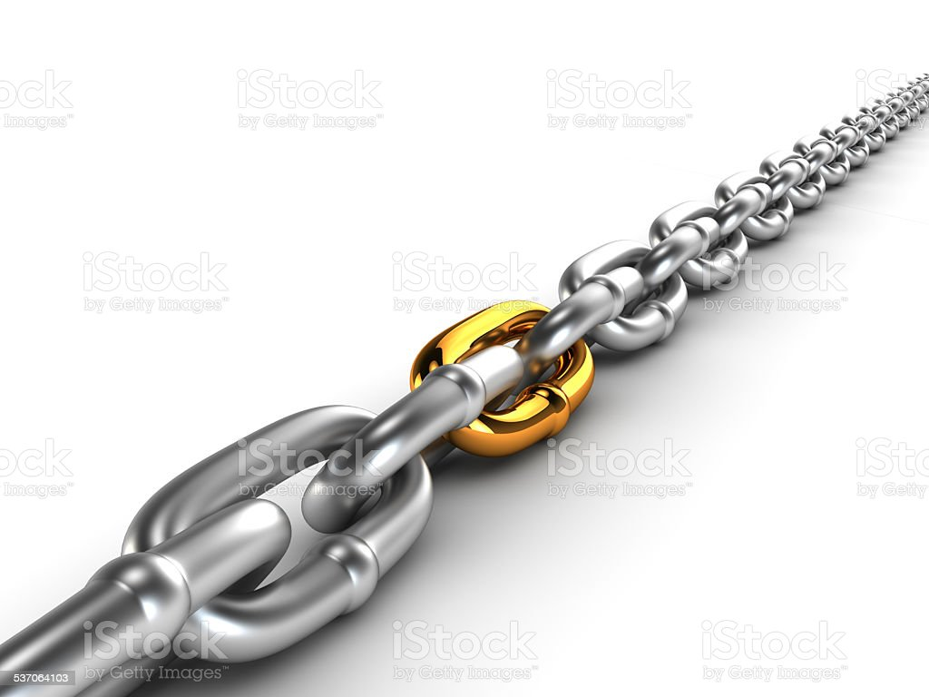 Chrome chain with a gold link stock photo