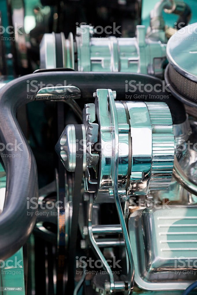 Chrome covered car engine stock photo