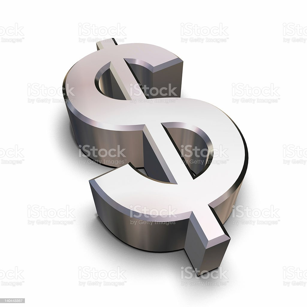Chrome Dollar symbol stock photo