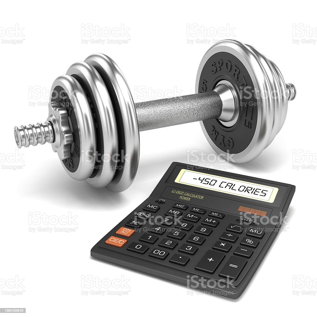 Chrome dumbbell and calculator calories stock photo