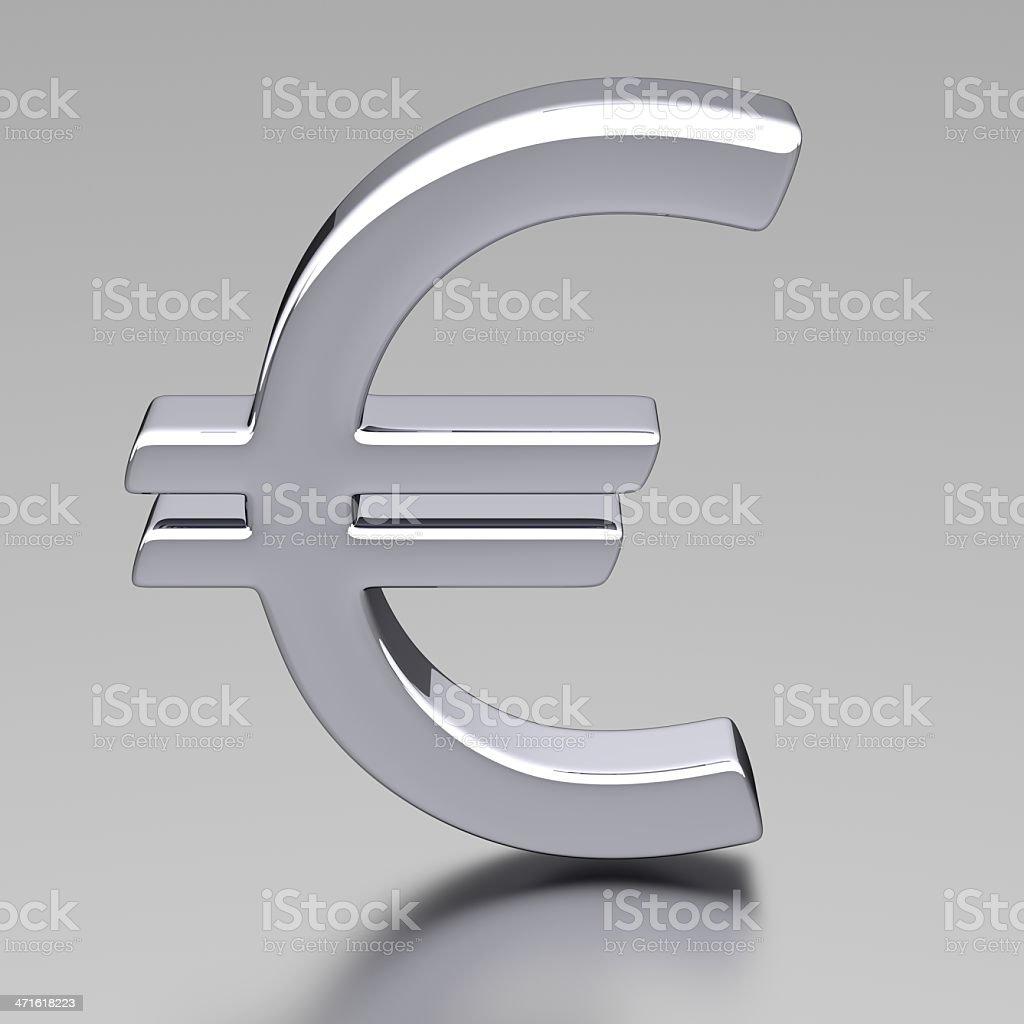3D Chrome Euro Sign royalty-free stock photo