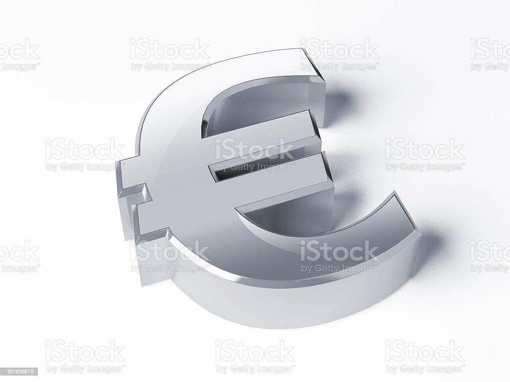 Chrome Euro Sign royalty-free stock photo