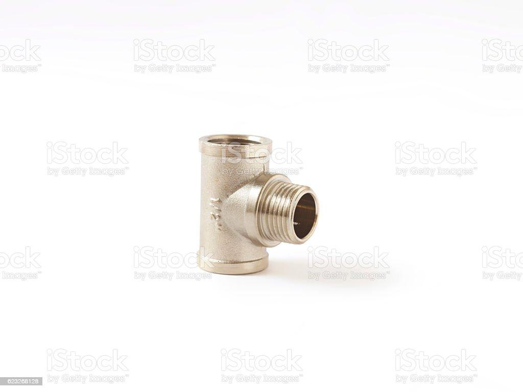 chrome fitting isolated over white background stock photo