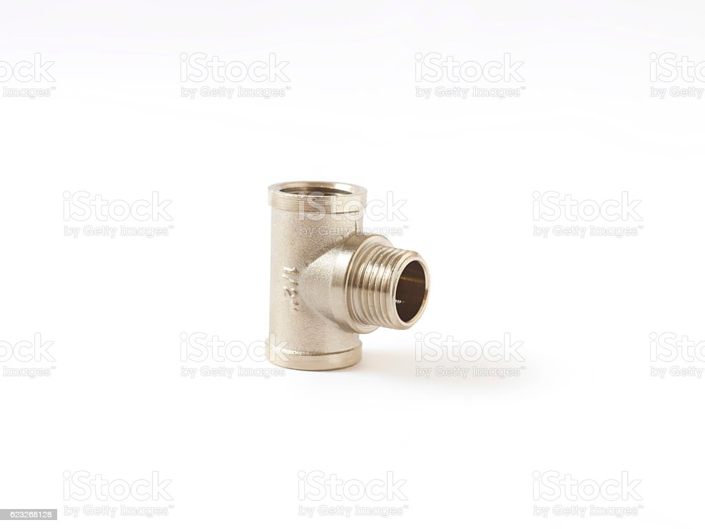 chrome fitting isolated over white background stock photo