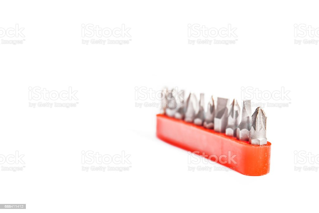 Chrome industrial screwdriver set with various bits and bit extension and replaceable head stock photo